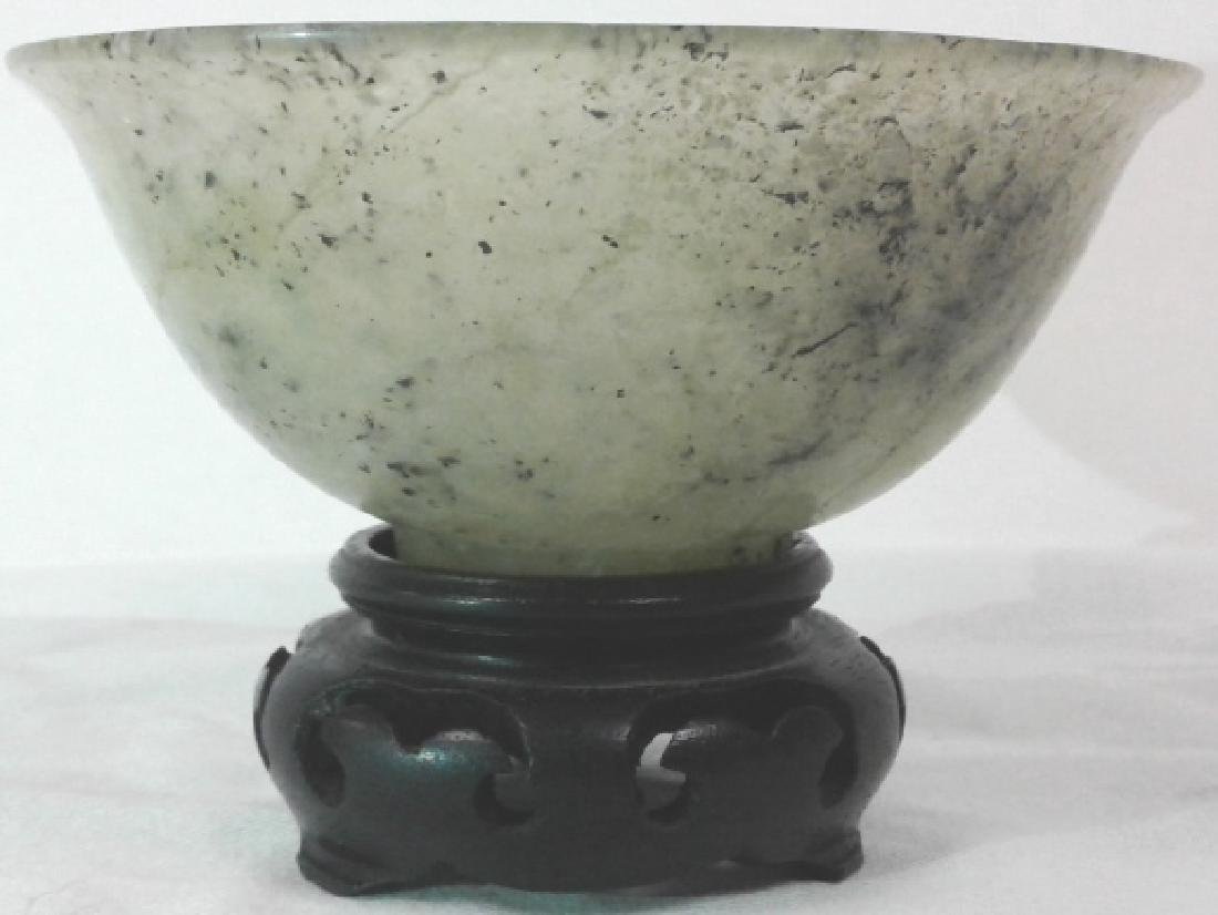 """Pair of approx. 4"""" wide x 1 3/4"""" tall jade bowls with - 4"""