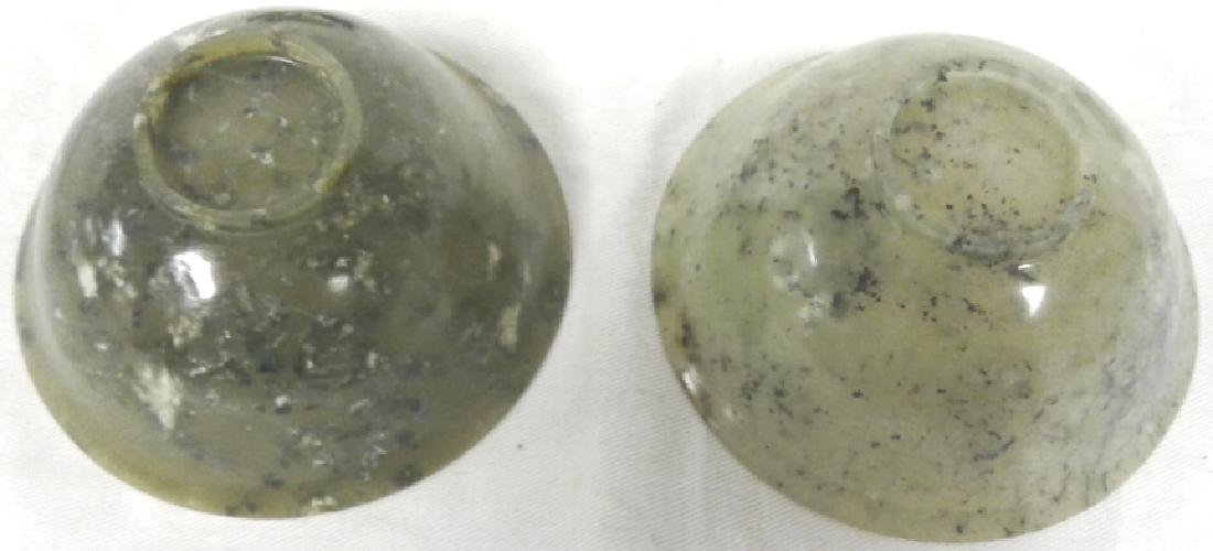 """Pair of approx. 4"""" wide x 1 3/4"""" tall jade bowls with - 5"""