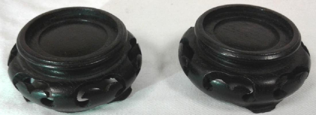 """Pair of approx. 4"""" wide x 1 3/4"""" tall jade bowls with - 6"""