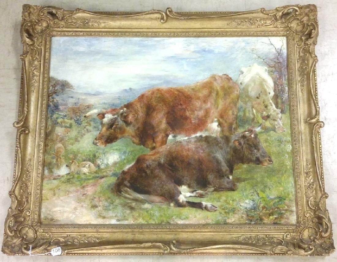 Signed & dated W. Huggins 1869 oil on board- cows at
