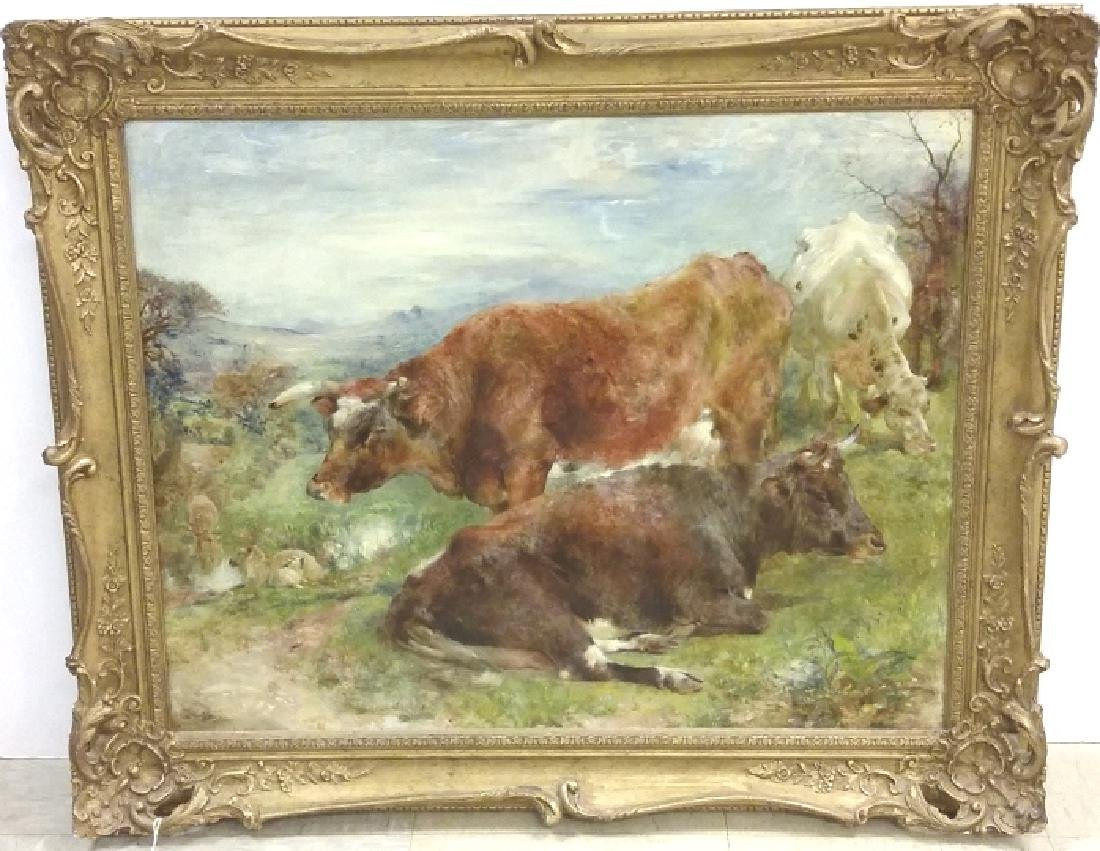 Signed & dated W. Huggins 1869 oil on board- cows at - 2