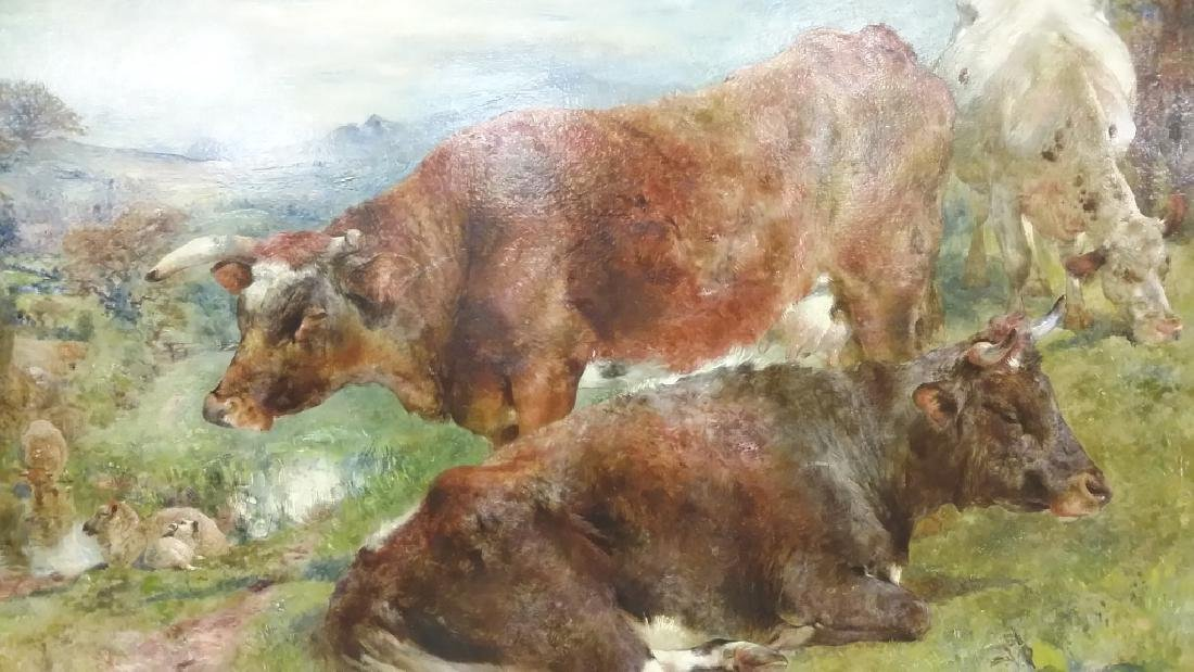 Signed & dated W. Huggins 1869 oil on board- cows at - 3