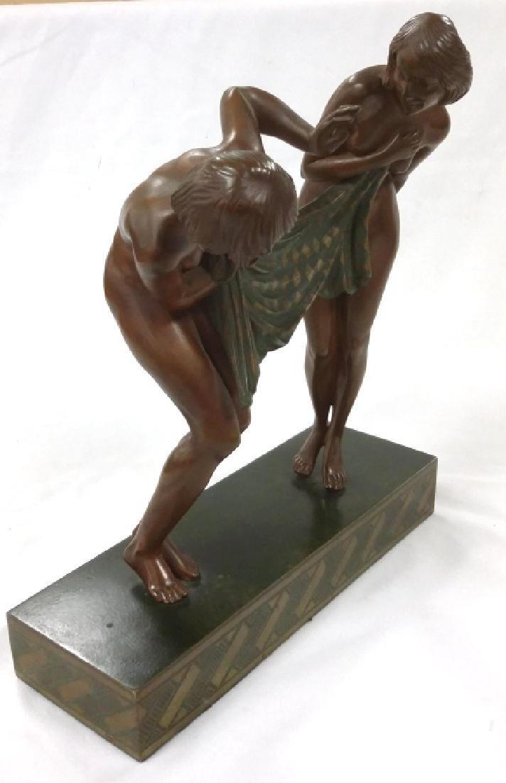 Rare signed Le Faguays art deco bronze figures on base - 2