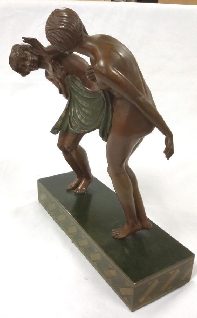 Rare signed Le Faguays art deco bronze figures on base - 3