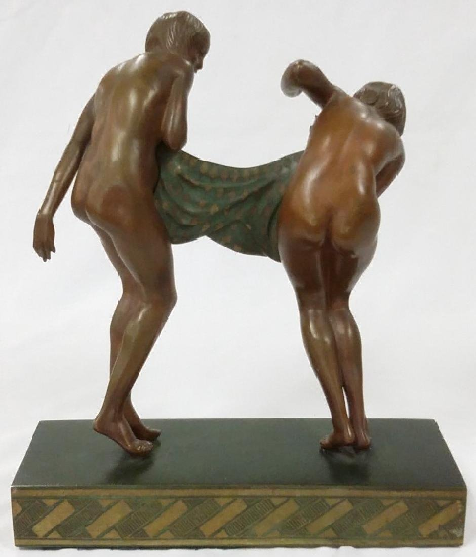 Rare signed Le Faguays art deco bronze figures on base - 4