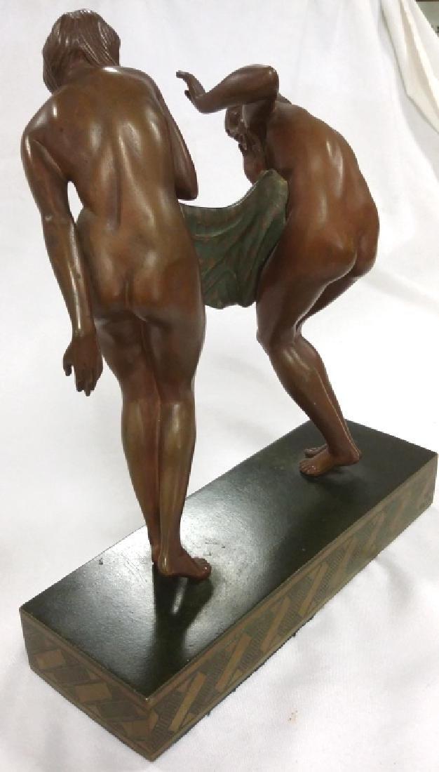 Rare signed Le Faguays art deco bronze figures on base - 5