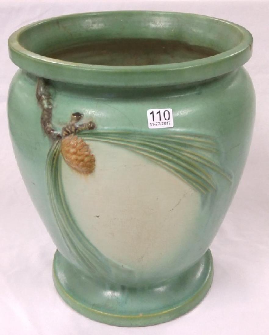 "Large 14"" Roseville green pinecone sand jar - stamped"