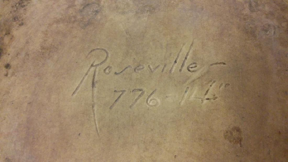 "Large 14"" Roseville green pinecone sand jar - stamped - 7"