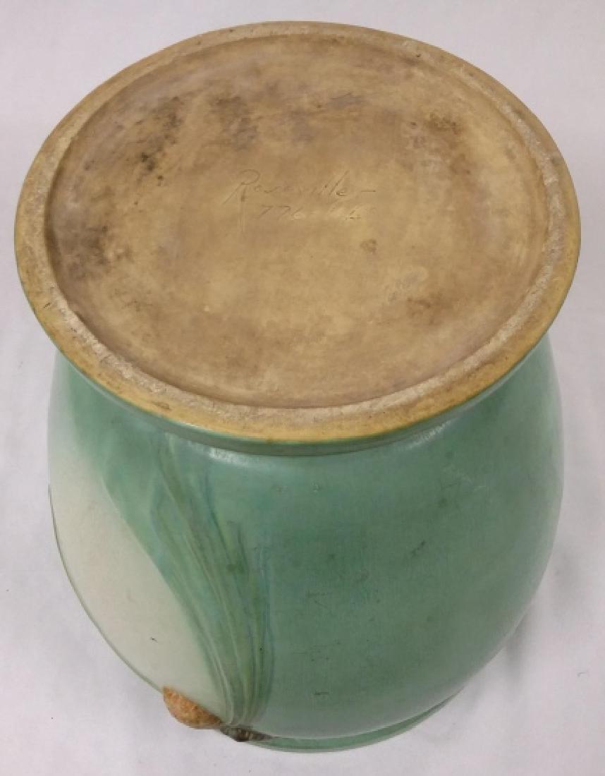 "Large 14"" Roseville green pinecone sand jar - stamped - 8"