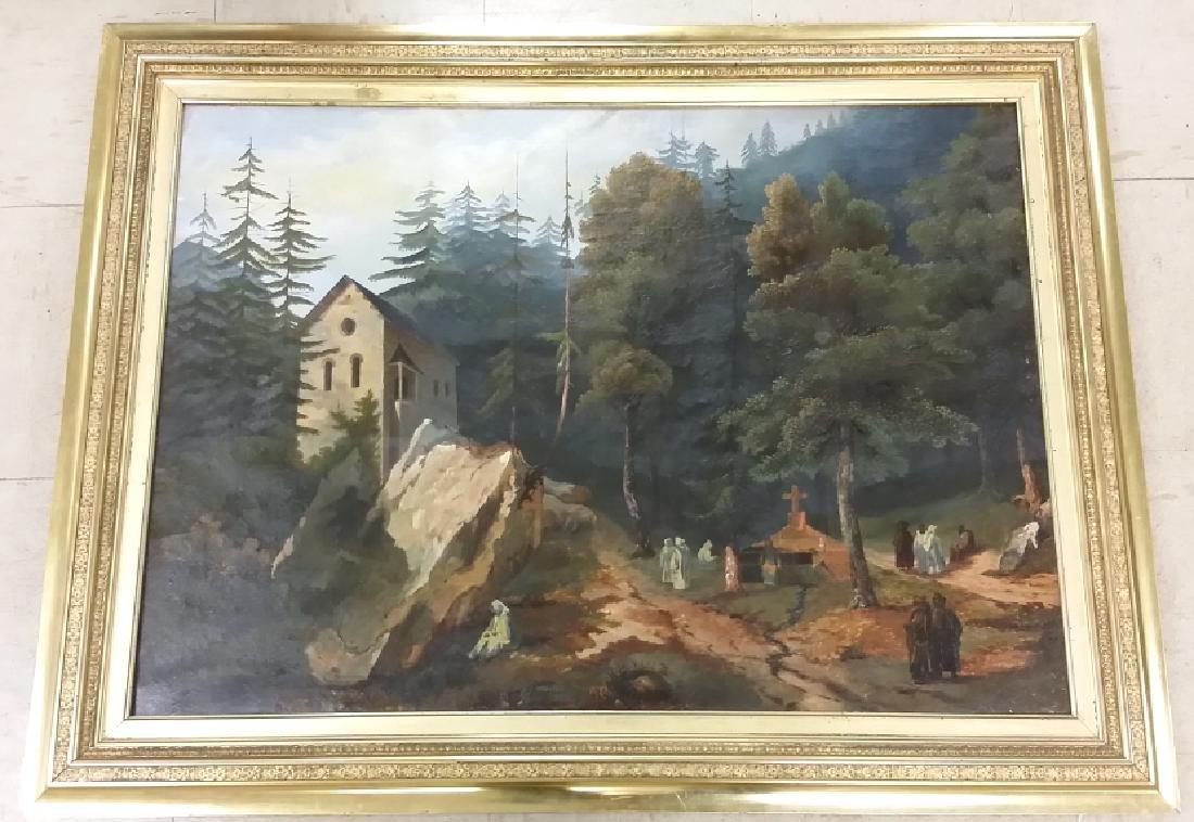 Framed signed L. D. Webster 1834 Pinx oil on canvas-