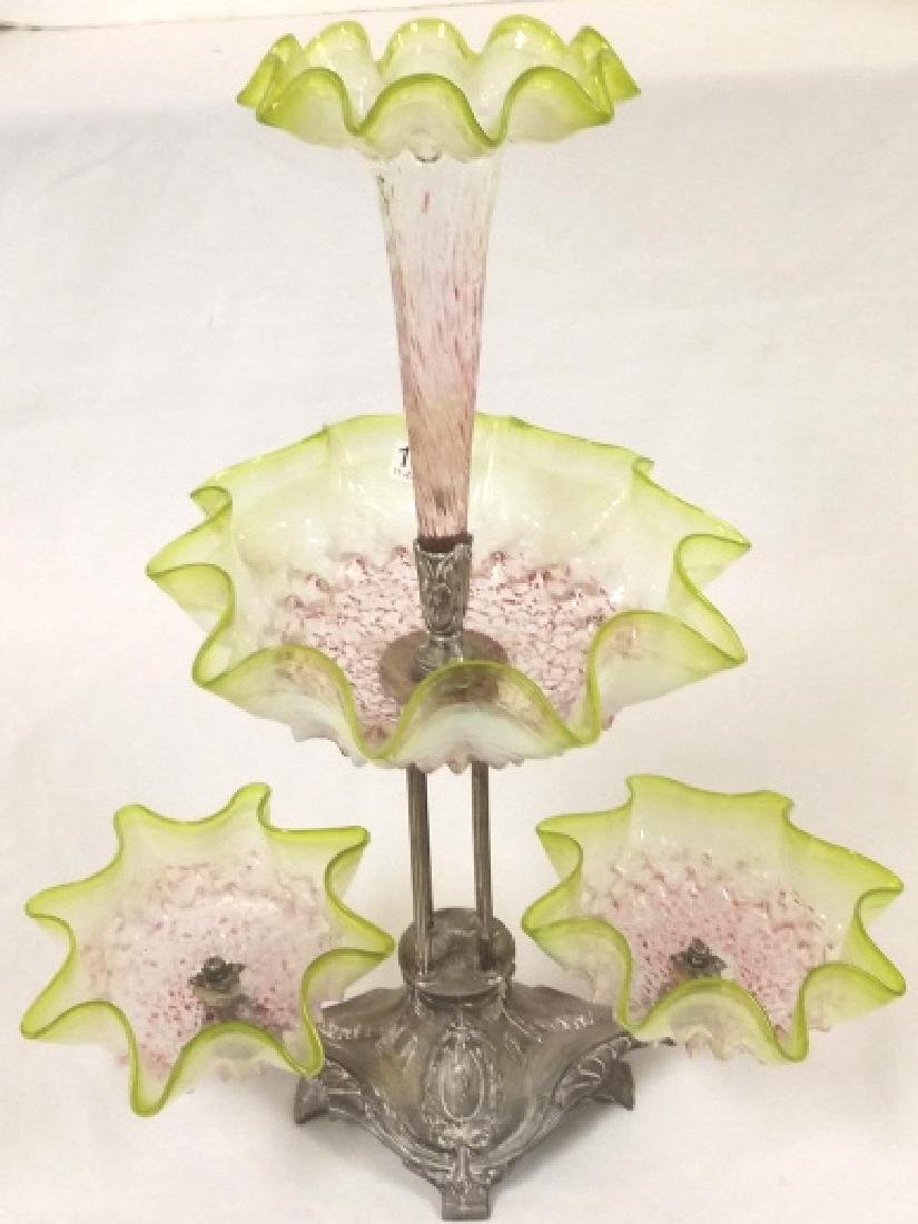 "Victorian art glass epergne approx 20"" tall, 16"" wide"