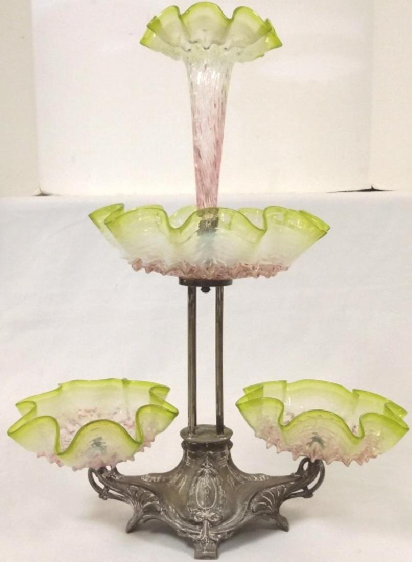 "Victorian art glass epergne approx 20"" tall, 16"" wide - 2"
