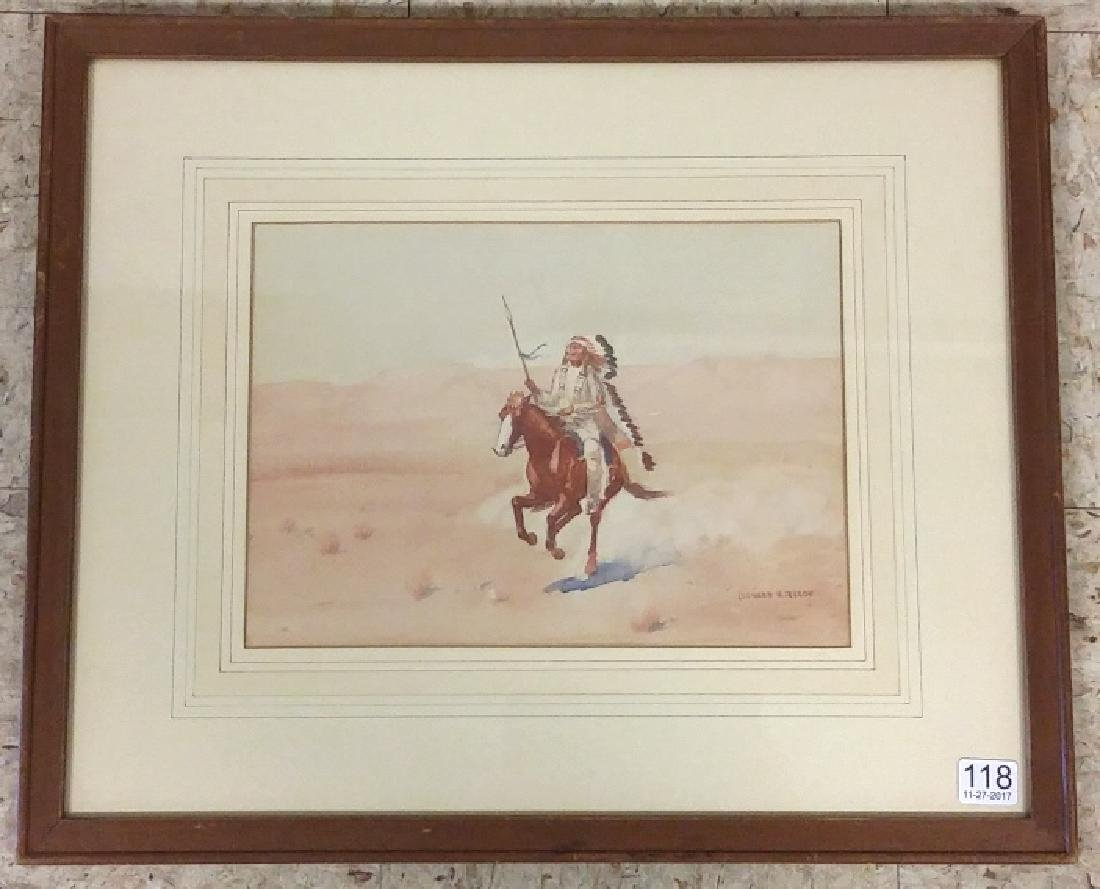 Framed signed Leonard H. Reedy watercolor- Indian on