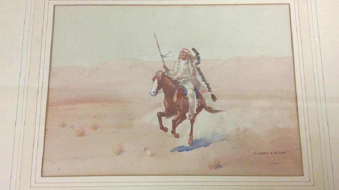 Framed signed Leonard H. Reedy watercolor- Indian on - 2
