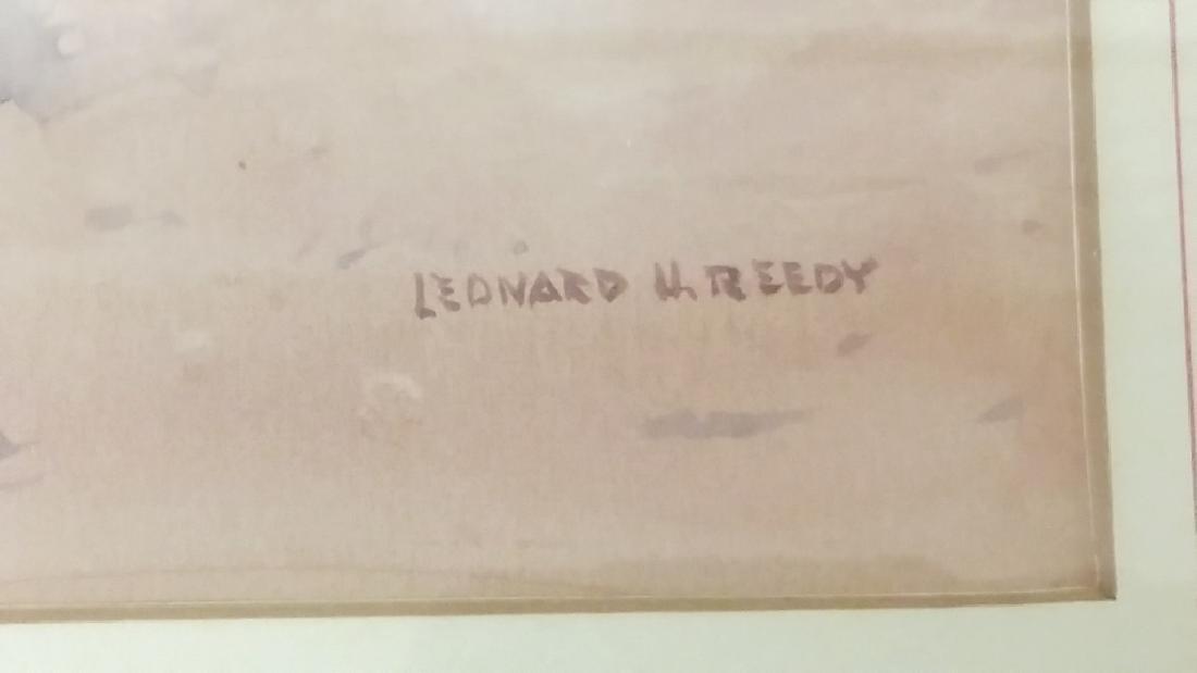 Framed signed Leonard H. Reedy watercolor- Indian on - 3