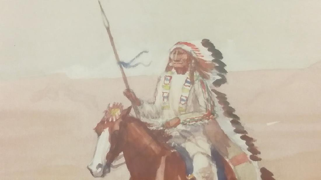 Framed signed Leonard H. Reedy watercolor- Indian on - 4