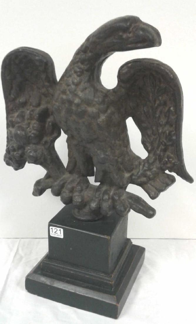 """1800's Americana cast iron 19"""" eagle on wood base"""