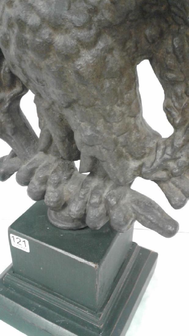 """1800's Americana cast iron 19"""" eagle on wood base - 3"""