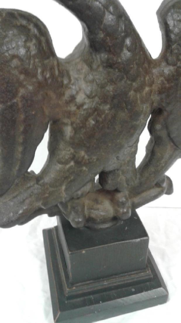 """1800's Americana cast iron 19"""" eagle on wood base - 5"""