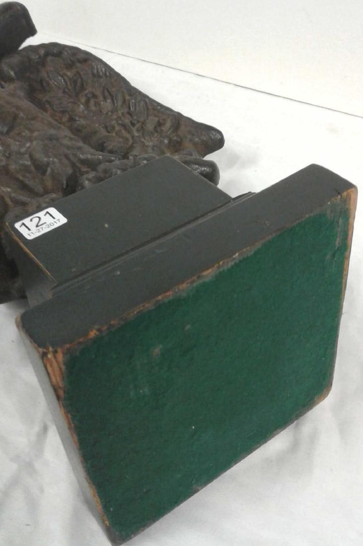 """1800's Americana cast iron 19"""" eagle on wood base - 6"""