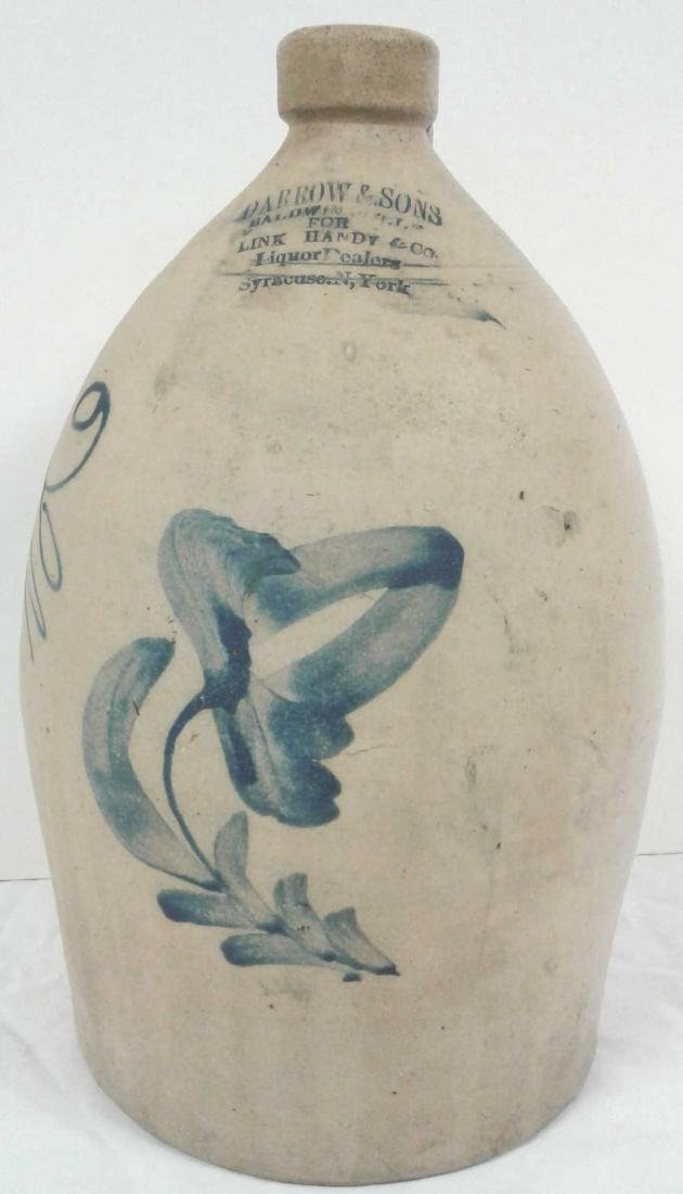 Civil War era stoneware 2 gallon floral jug - Darrow &