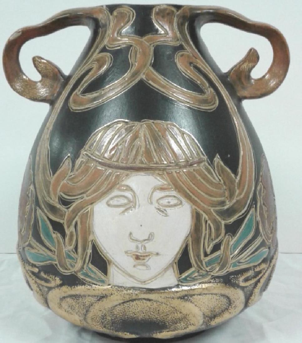 """Owens pottery Ohio Henri Deux Art Nouveau girl 10"""" vase"""