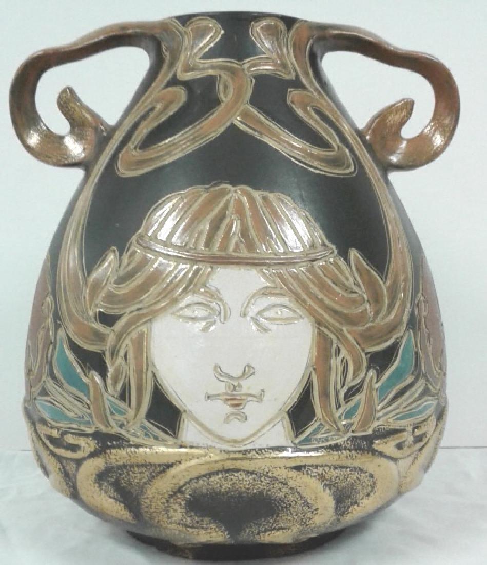"""Owens pottery Ohio Henri Deux Art Nouveau girl 10"""" vase - 2"""