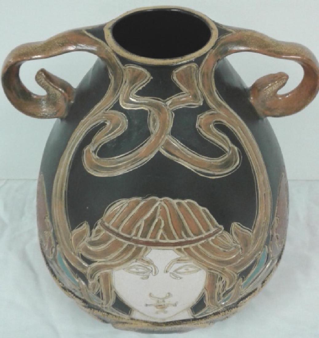"""Owens pottery Ohio Henri Deux Art Nouveau girl 10"""" vase - 3"""