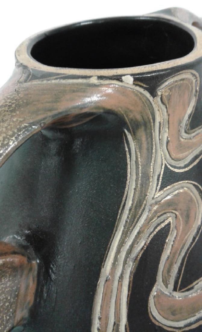 """Owens pottery Ohio Henri Deux Art Nouveau girl 10"""" vase - 7"""