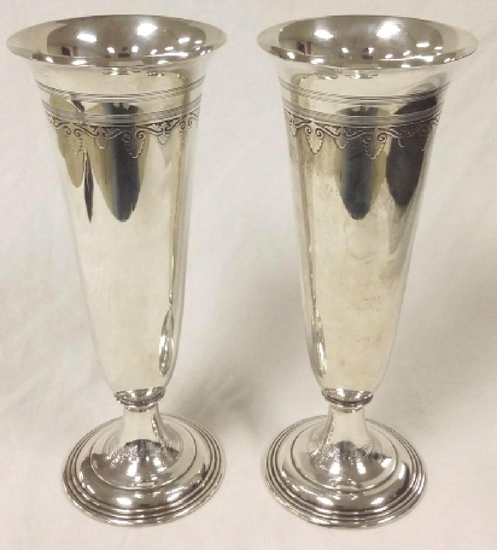 Pair of Tiffany & Company silver trumpet vases, New