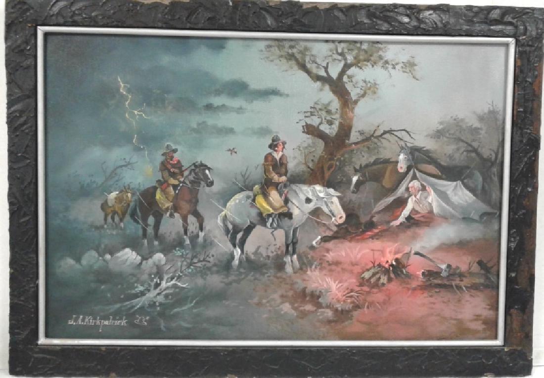 Framed signed J.A. Kirkpatrick oil on canvas- campsite