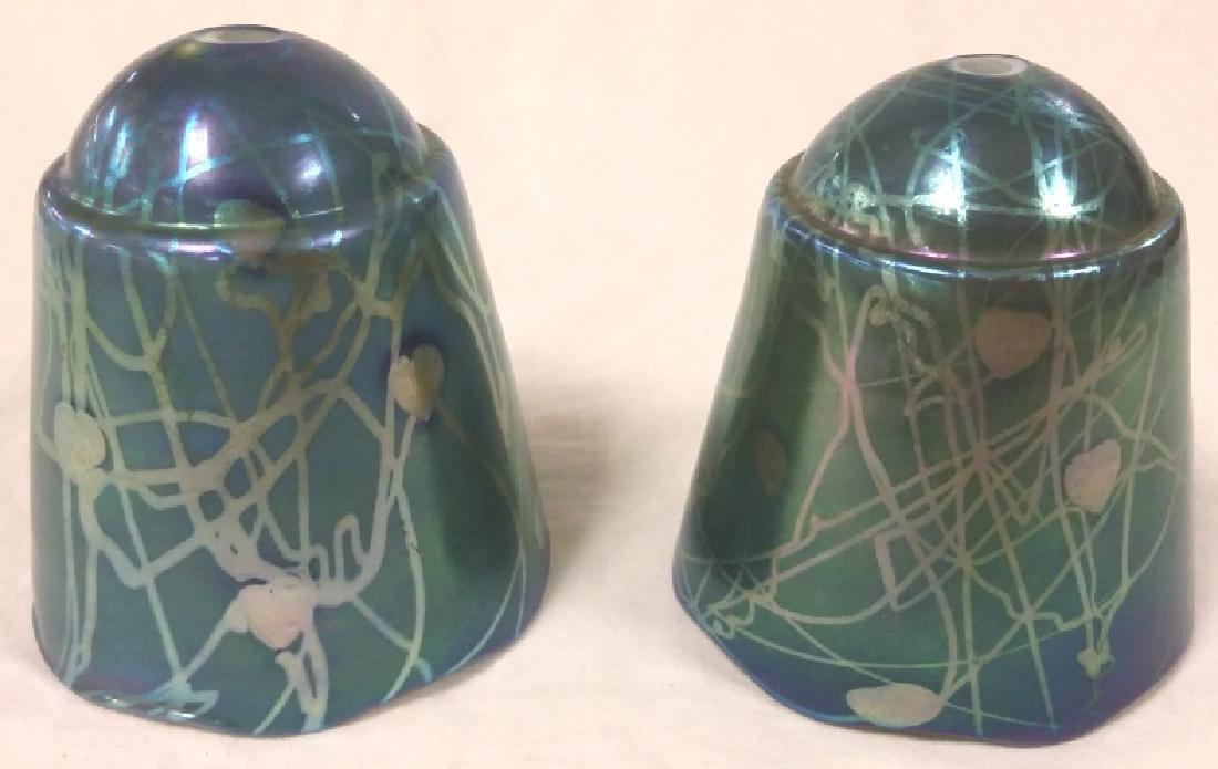 Rare pair unsigned Steuben boudoir shades- blue aurene