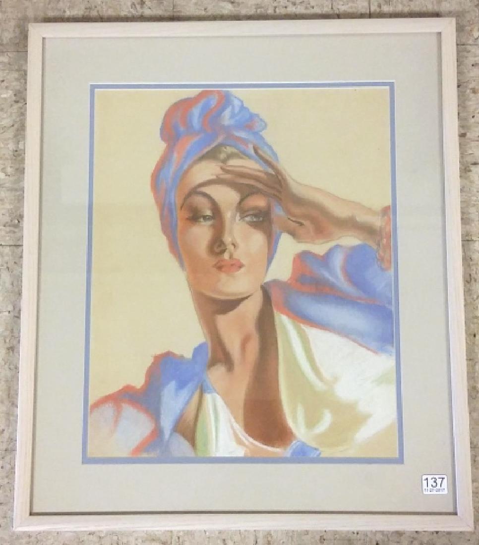 "Framed unsigned pastel- lady- 13"" x 16"" inside"