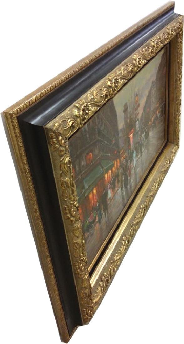Framed signed Edouard Cortes oil on canvas- street - 10