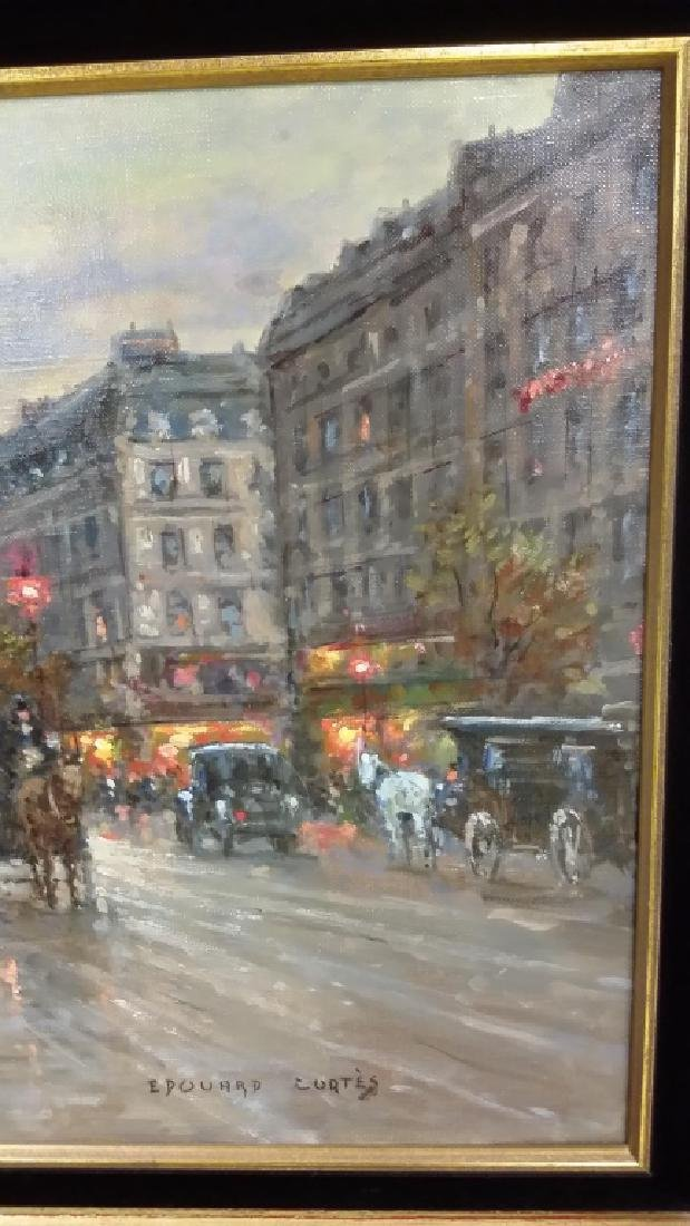 Framed signed Edouard Cortes oil on canvas- street - 11