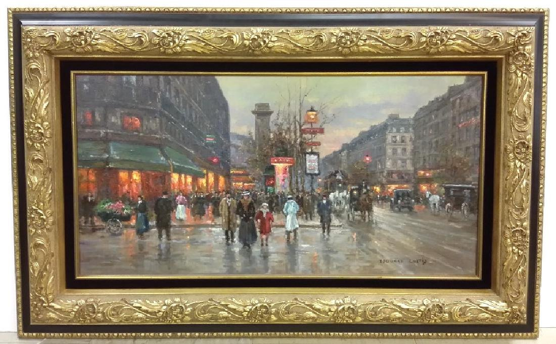 Framed signed Edouard Cortes oil on canvas- street