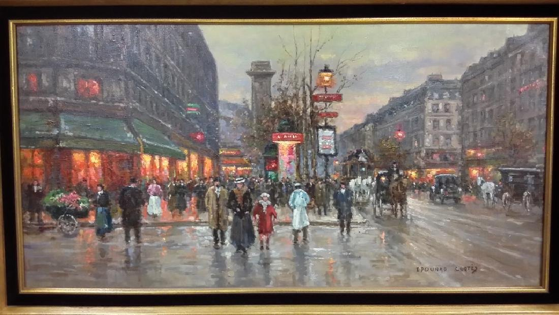 Framed signed Edouard Cortes oil on canvas- street - 2