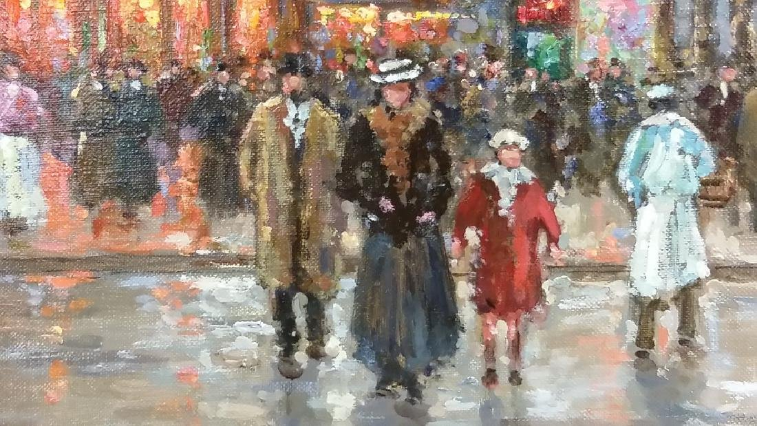 Framed signed Edouard Cortes oil on canvas- street - 4