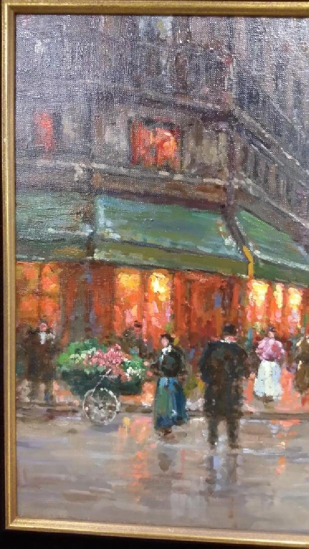 Framed signed Edouard Cortes oil on canvas- street - 6