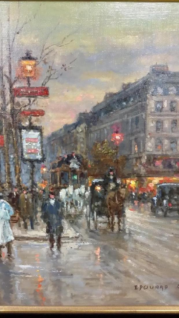 Framed signed Edouard Cortes oil on canvas- street - 8
