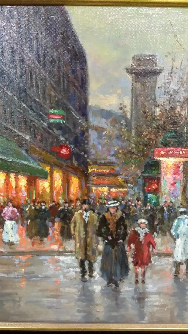 Framed signed Edouard Cortes oil on canvas- street - 9