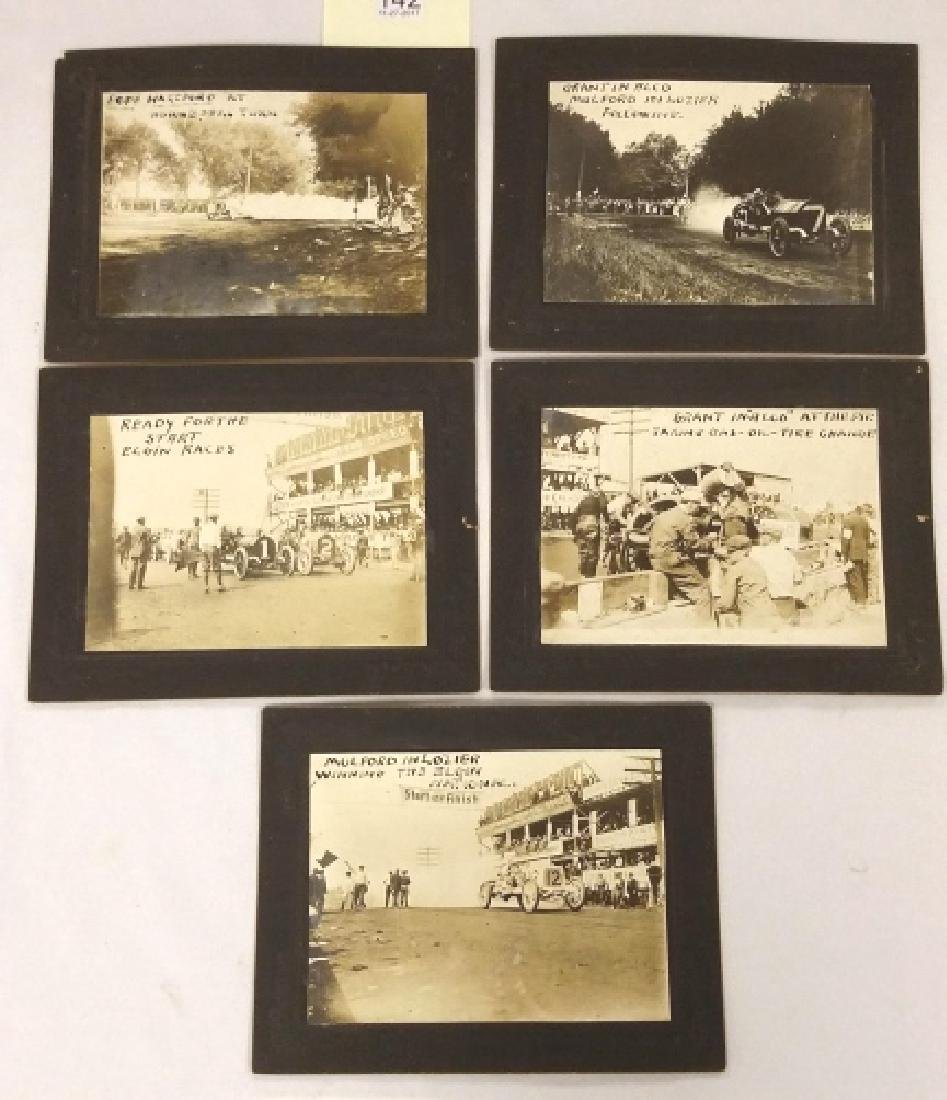 5 early 1900's auto racing photos mounted on cards
