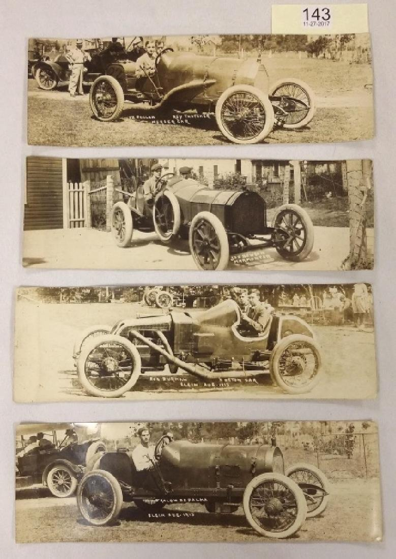 4 early 1900's real photo auto racing postcards