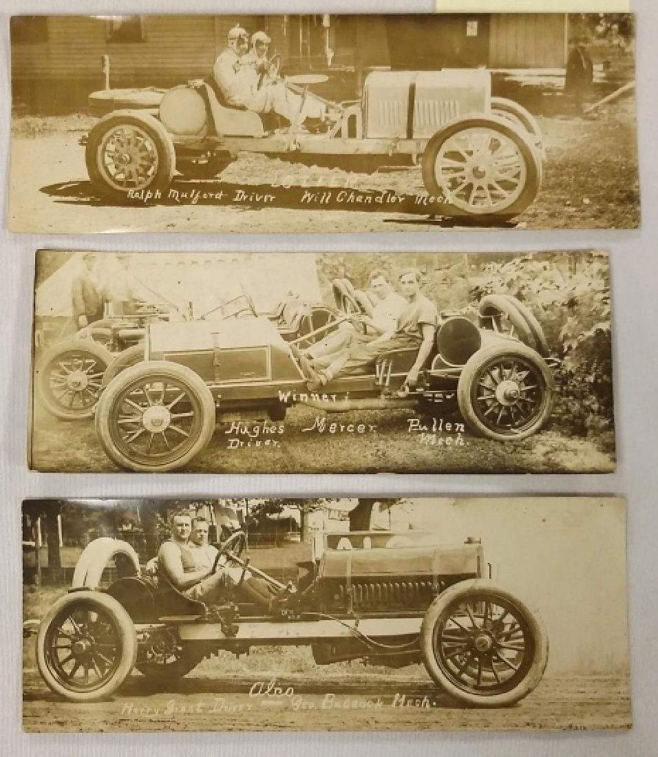 3 early 1900's real photo auto racing postcards