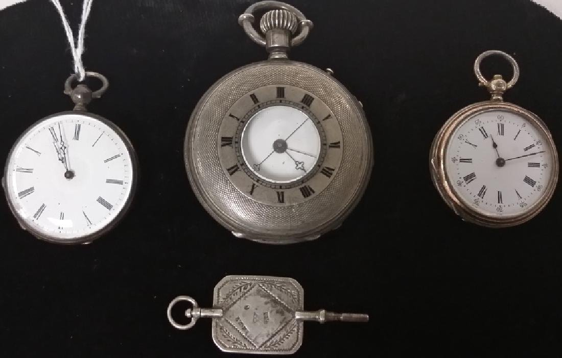 3 early silver watches & hallmarked watch key