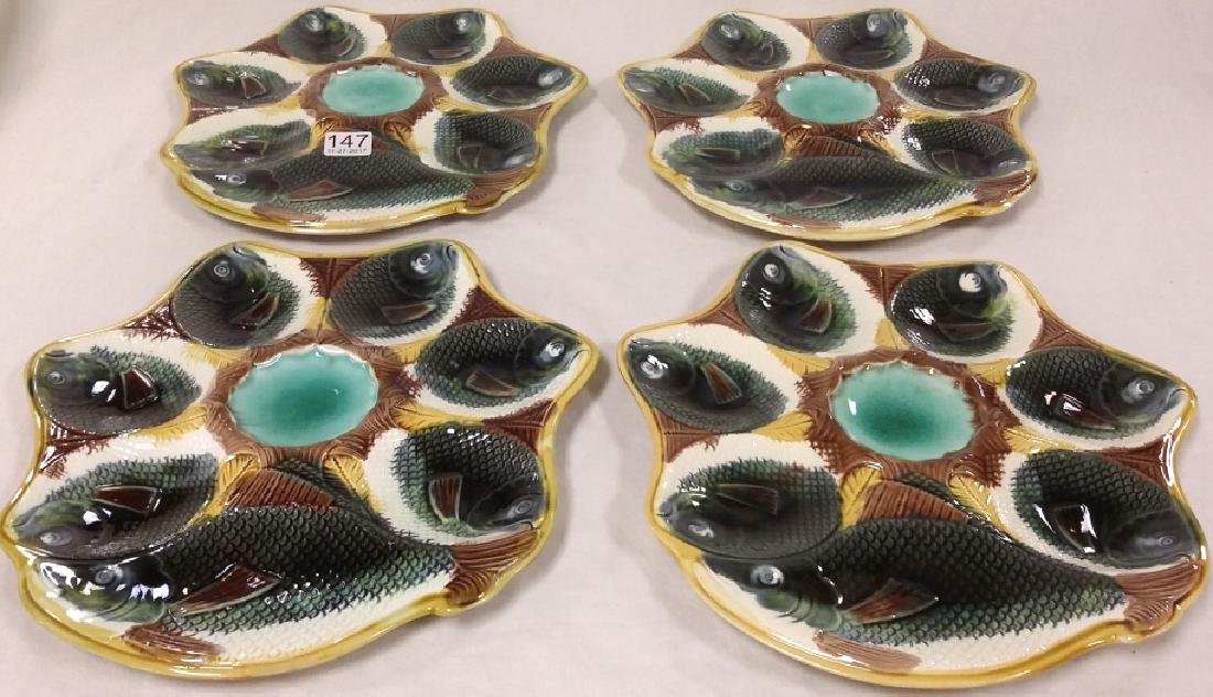 4 antique Majolica oyster plates with fish & cracker