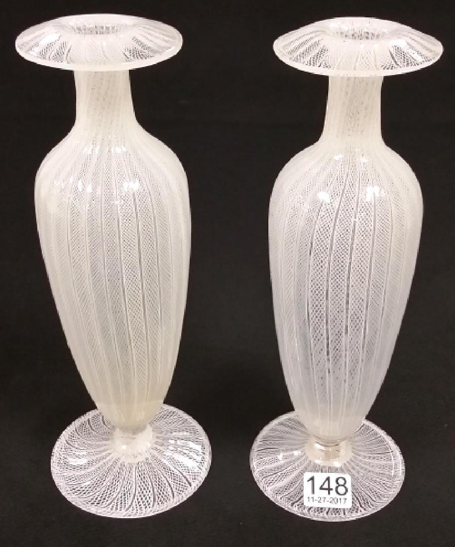 "Pair approx 9 1/2"" Italian Latticino art glass vases"