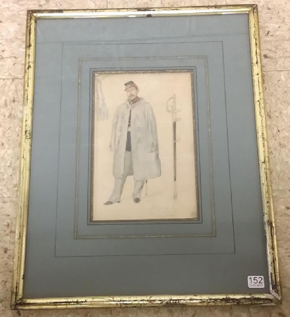 Framed watercolor & graphite painting of military