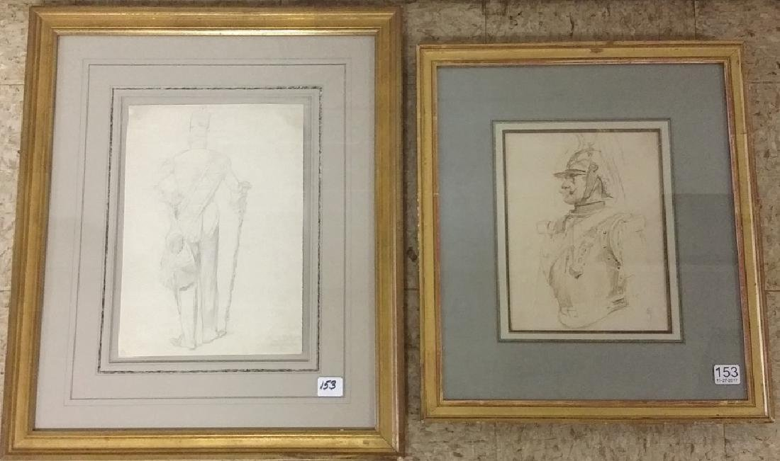 2 framed antique military drawings - 1 dated 1849 & 1