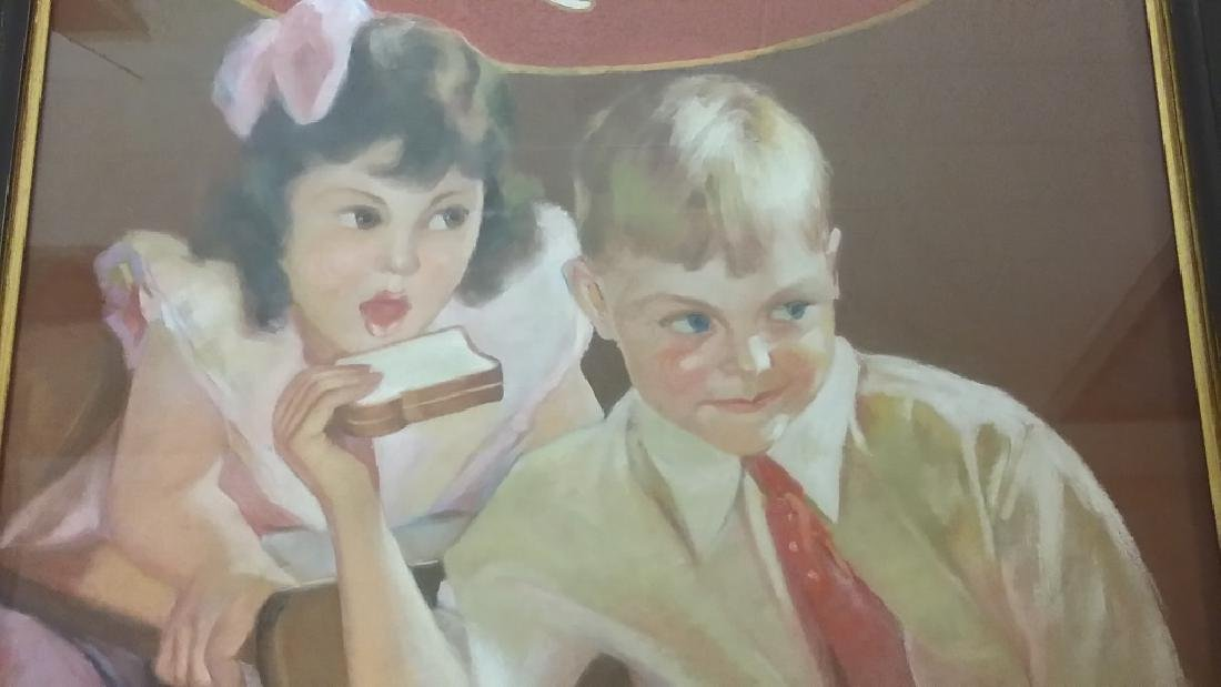 Framed original Irene Patten pastel advertising Taystee - 5